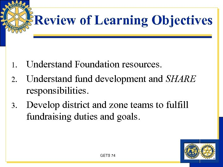 Review of Learning Objectives 1. 2. 3. Understand Foundation resources. Understand fund development and