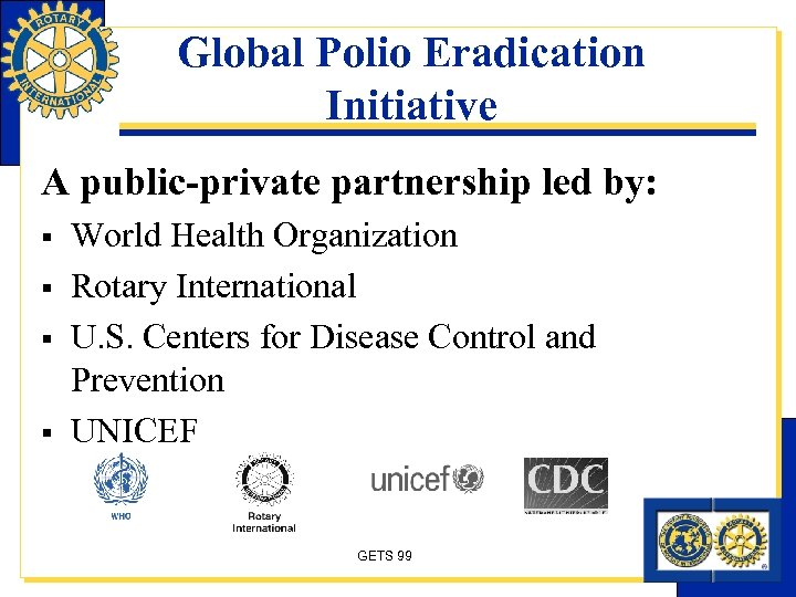 Global Polio Eradication Initiative A public-private partnership led by: § § World Health Organization