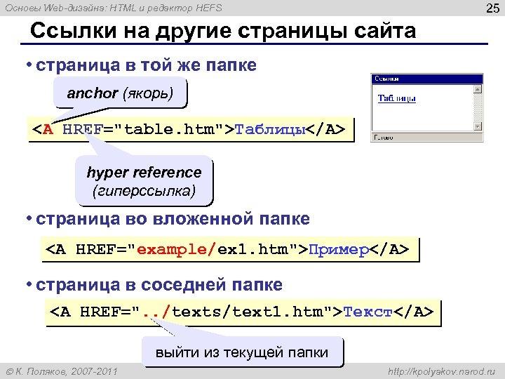 25 Основы Web-дизайна: HTML и редактор HEFS Ссылки на другие страницы сайта • страница