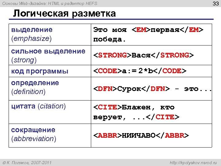 33 Основы Web-дизайна: HTML и редактор HEFS Логическая разметка выделение (emphasize) Это моя <EM>первая</EM>
