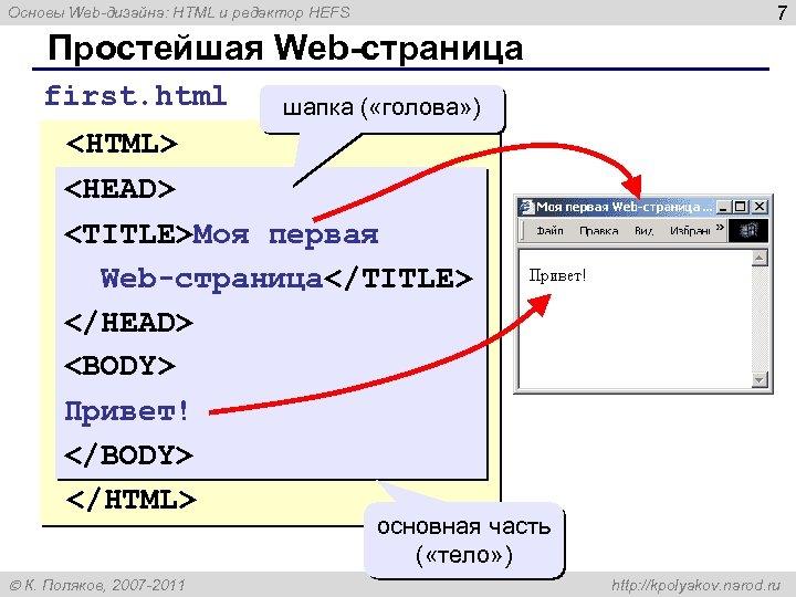7 Основы Web-дизайна: HTML и редактор HEFS Простейшая Web-страница first. html шапка ( «голова»