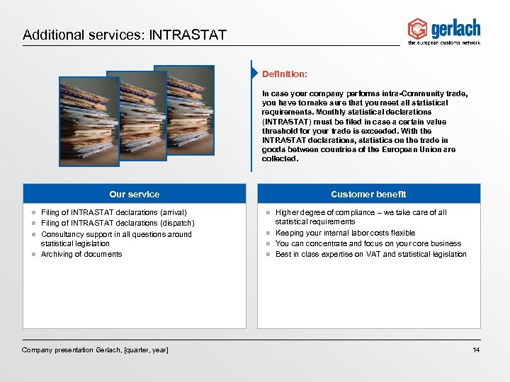Additional services: INTRASTAT Definition: In case your company performs intra-Community trade, you have to