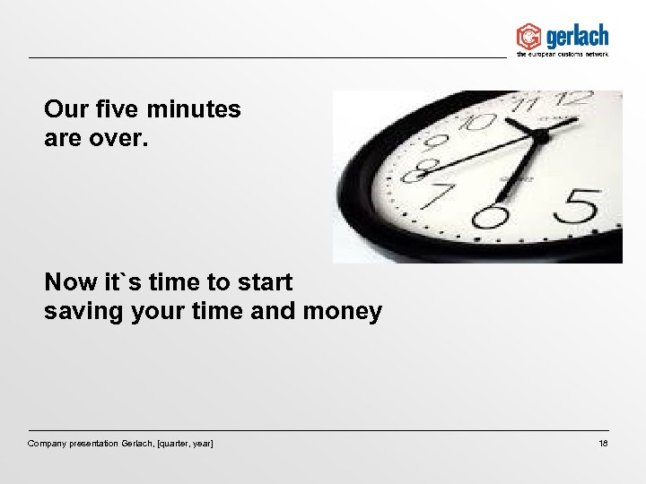 Our five minutes are over. Now it`s time to start saving your time and