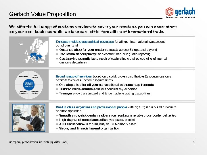 Gerlach Value Proposition We offer the full range of customs services to cover your