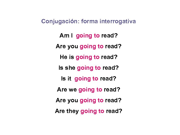 Conjugación: forma interrogativa Am I going to read? Are you going to read? He