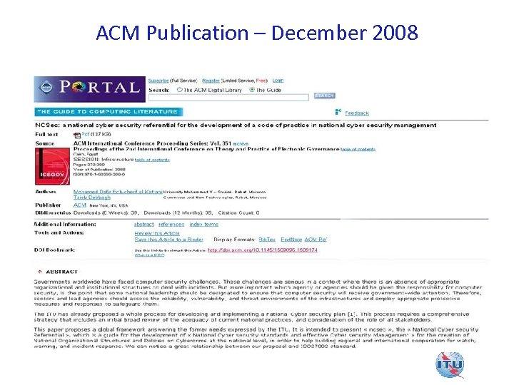ACM Publication – December 2008