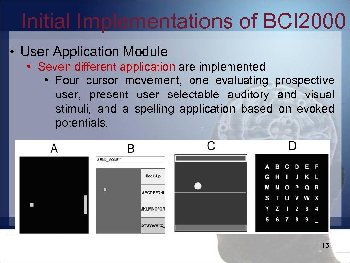 Initial Implementations of BCI 2000 • User Application Module • Seven different application are