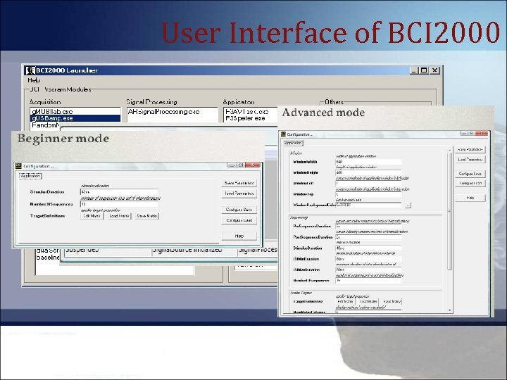User Interface of BCI 2000
