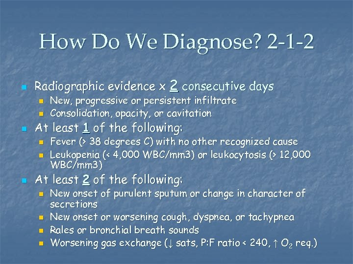How Do We Diagnose? 2 -1 -2 n Radiographic evidence x 2 consecutive days