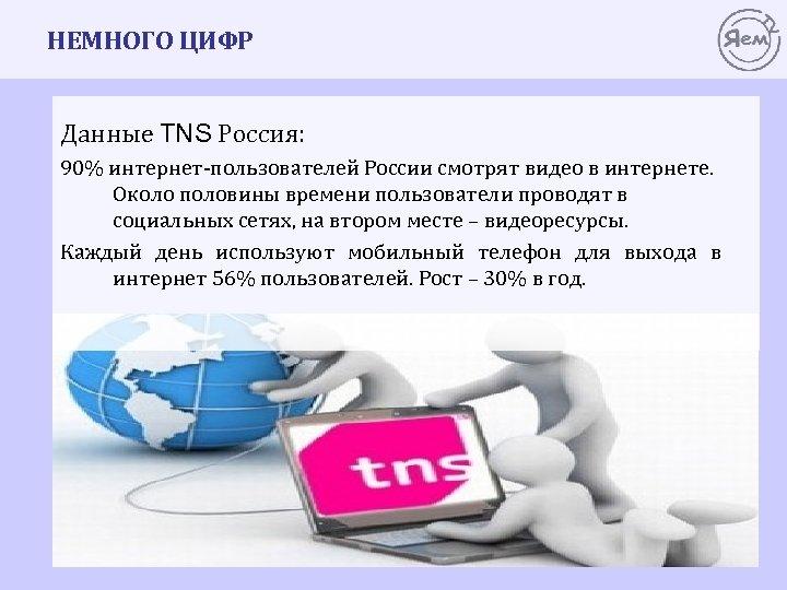 НЕМНОГО ЦИФР Данные TNS Россия: 90% интернет-пользователей России смотрят видео в интернете. Около половины