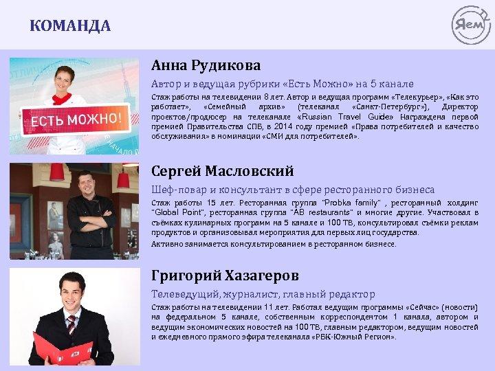 КОМАНДА Анна Рудикова Автор и ведущая рубрики «Есть Можно» на 5 канале Стаж работы