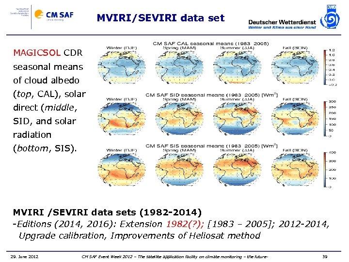 MVIRI/SEVIRI data set MAGICSOL CDR seasonal means of cloud albedo (top, CAL), solar direct