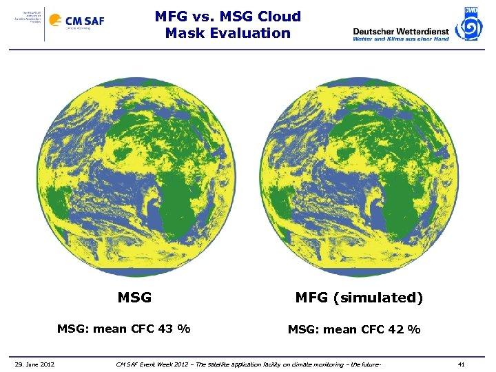 MFG vs. MSG Cloud Mask Evaluation MSG: mean CFC 43 % 29. June 2012