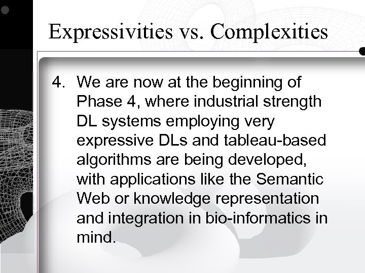 Expressivities vs. Complexities 4. We are now at the beginning of Phase 4, where