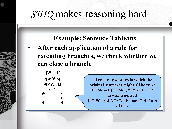 SHIQ makes reasoning hard • Example: Sentence Tableaux After each application of a rule