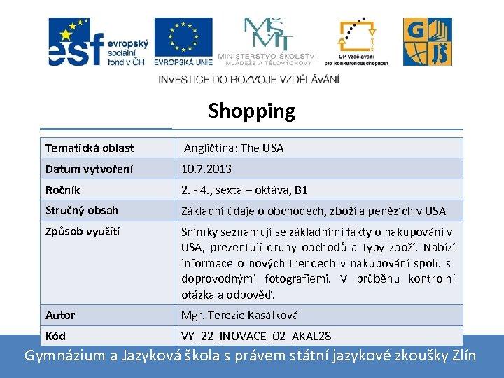Shopping Tematická oblast Angličtina: The USA Datum vytvoření 10. 7. 2013 Ročník 2. -