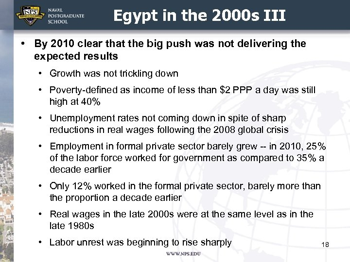 Egypt in the 2000 s III • By 2010 clear that the big push