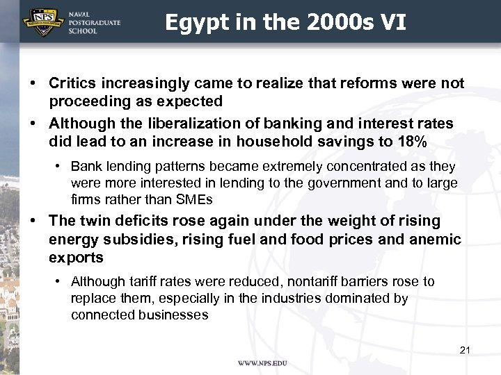 Egypt in the 2000 s VI • Critics increasingly came to realize that reforms