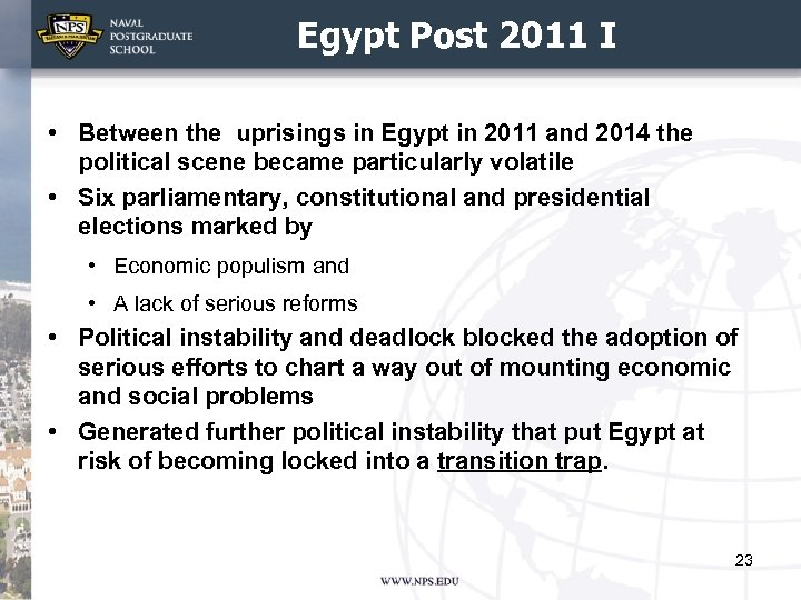 Egypt Post 2011 I • Between the uprisings in Egypt in 2011 and 2014