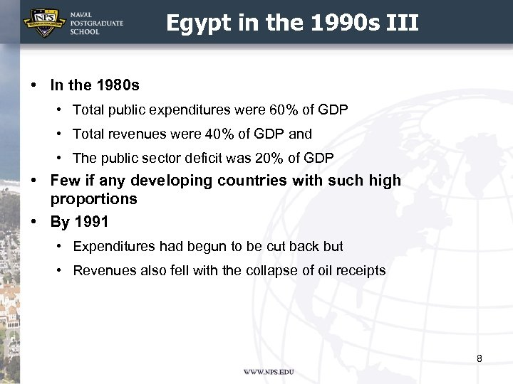 Egypt in the 1990 s III • In the 1980 s • Total public