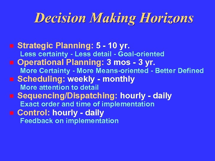 Decision Making Horizons Strategic Planning: 5 - 10 yr. Less certainty - Less detail