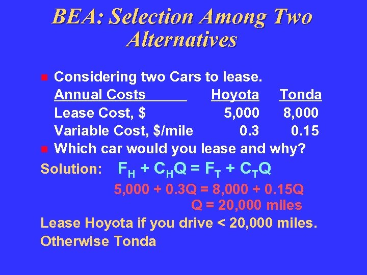 BEA: Selection Among Two Alternatives Considering two Cars to lease. Annual Costs Hoyota Tonda