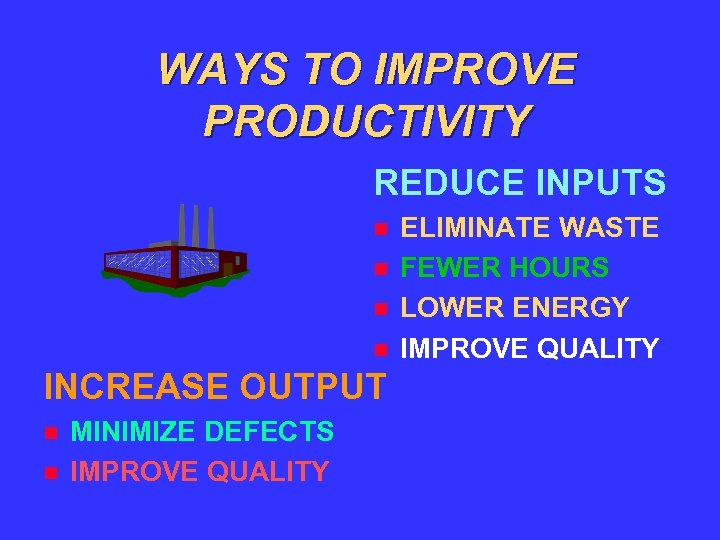 WAYS TO IMPROVE PRODUCTIVITY REDUCE INPUTS INCREASE OUTPUT MINIMIZE DEFECTS IMPROVE QUALITY ELIMINATE WASTE