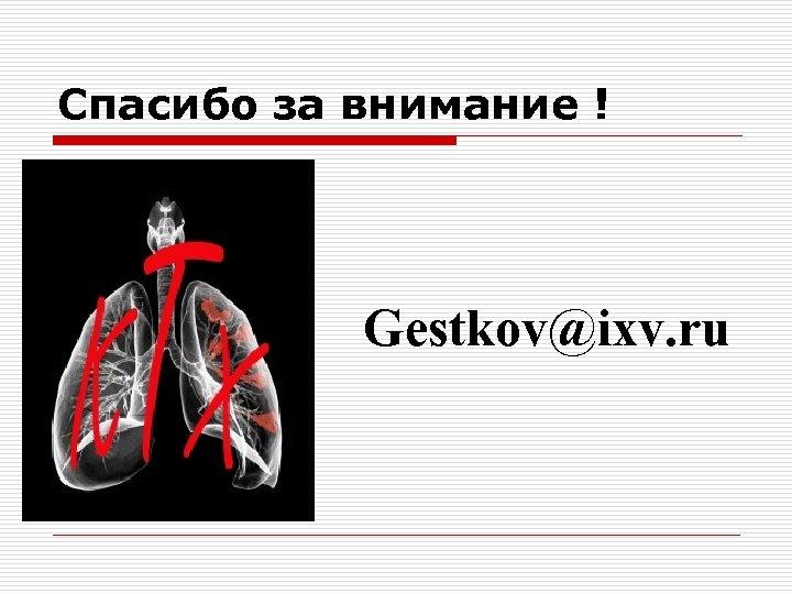Спасибо за внимание ! Gestkov@ixv. ru