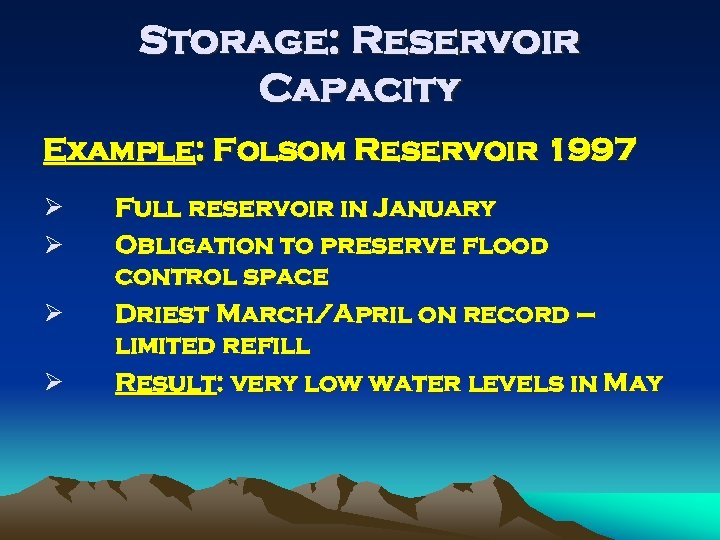 Storage: Reservoir Capacity Example: Folsom Reservoir 1997 Ø Ø Full reservoir in January Obligation