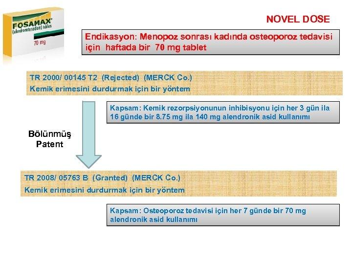NOVEL DOSE Endikasyon: Menopoz sonrası kadında osteoporoz tedavisi için haftada bir 70 mg tablet