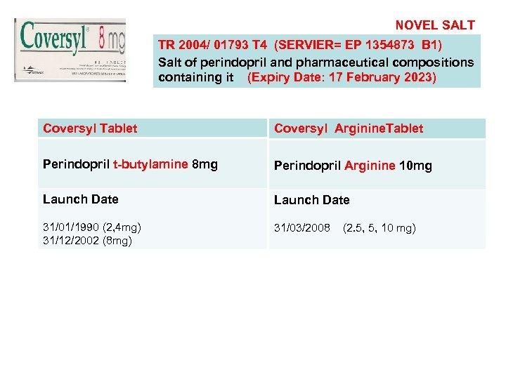 NOVEL SALT TR 2004/ 01793 T 4 (SERVIER= EP 1354873 B 1) Salt of