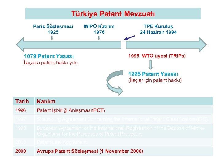 Türkiye Patent Mevzuatı Paris Sözleşmesi 1925 WIPO Katılım 1976 1879 Patent Yasası TPE Kuruluş