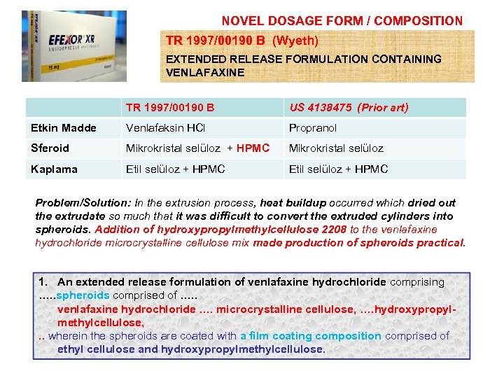 NOVEL DOSAGE FORM / COMPOSITION TR 1997/00190 B (Wyeth) EXTENDED RELEASE FORMULATION CONTAINING VENLAFAXINE