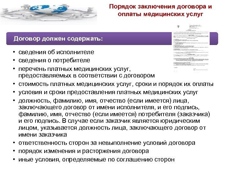 Порядок заключения договора и оплаты медицинских услуг Договор должен содержать: • сведения об исполнителе
