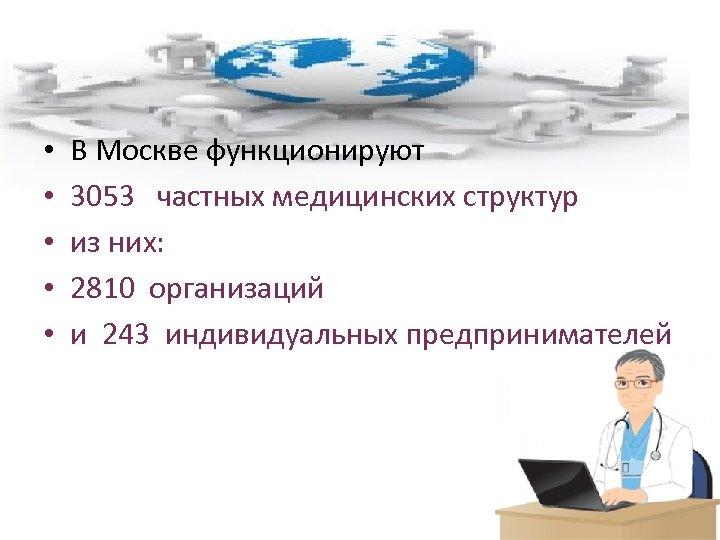 • • • В Москве функционируют 3053 частных медицинских структур из них: 2810