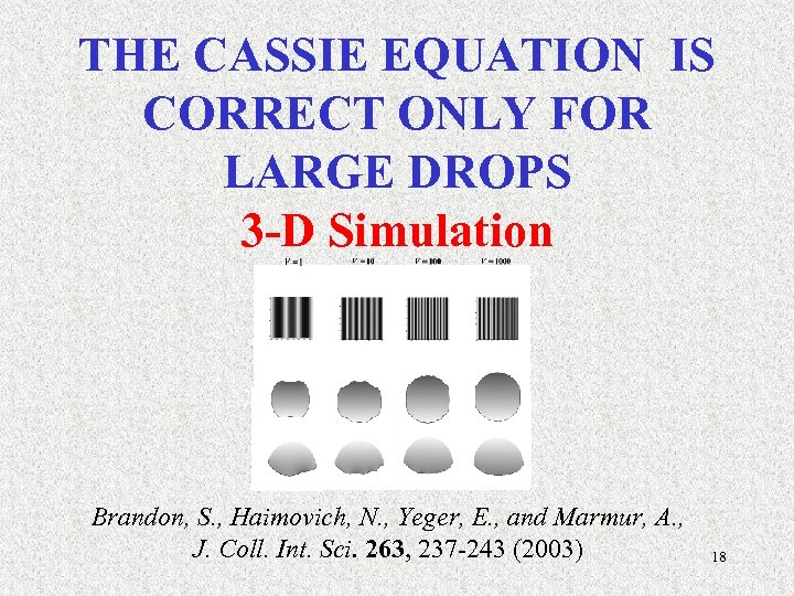 THE CASSIE EQUATION IS CORRECT ONLY FOR LARGE DROPS 3 -D Simulation Brandon, S.