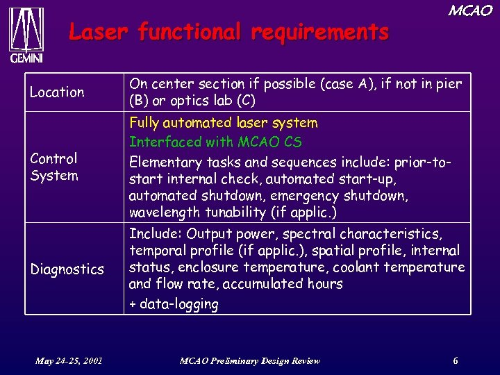 Laser functional requirements MCAO Location On center section if possible (case A), if not