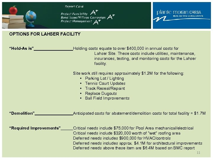"OPTIONS FOR LAHSER FACILITY ""Hold-As is"" Holding costs equate to over $400, 000 in"