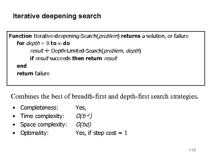 Iterative deepening search Function Iterative-deepening-Search(problem) returns a solution, or failure for depth = 0