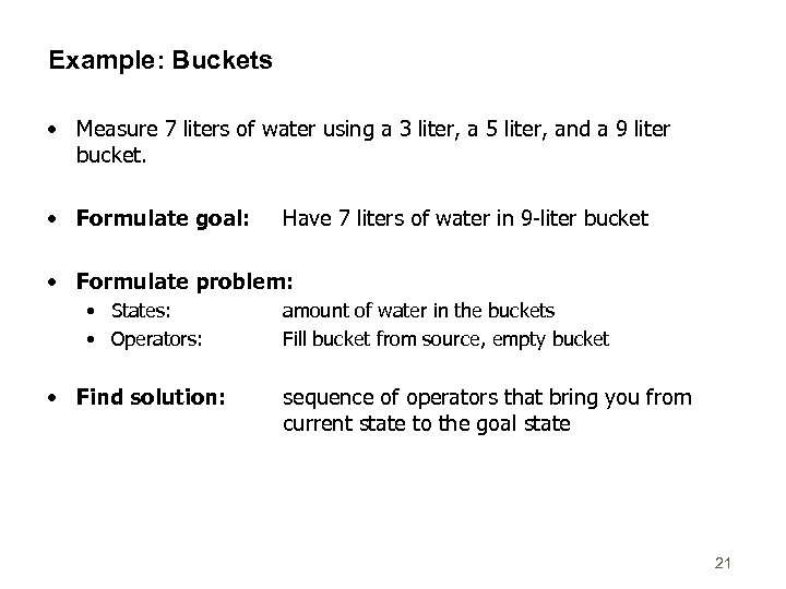 Example: Buckets • Measure 7 liters of water using a 3 liter, a 5