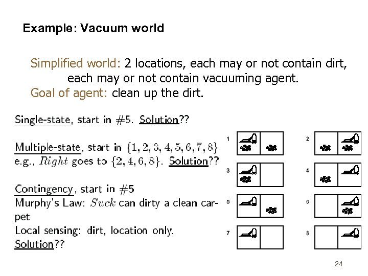 Example: Vacuum world Simplified world: 2 locations, each may or not contain dirt, each