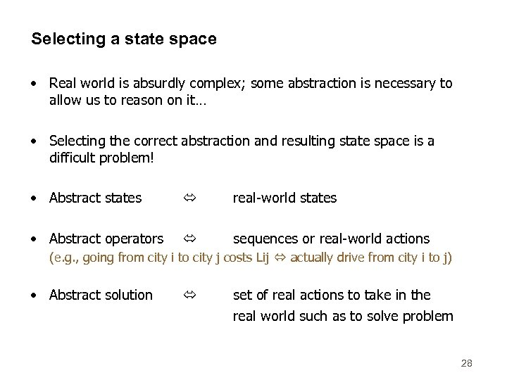 Selecting a state space • Real world is absurdly complex; some abstraction is necessary