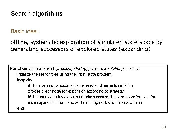Search algorithms Basic idea: offline, systematic exploration of simulated state-space by generating successors of