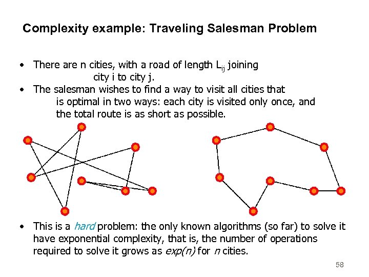 Complexity example: Traveling Salesman Problem • There are n cities, with a road of