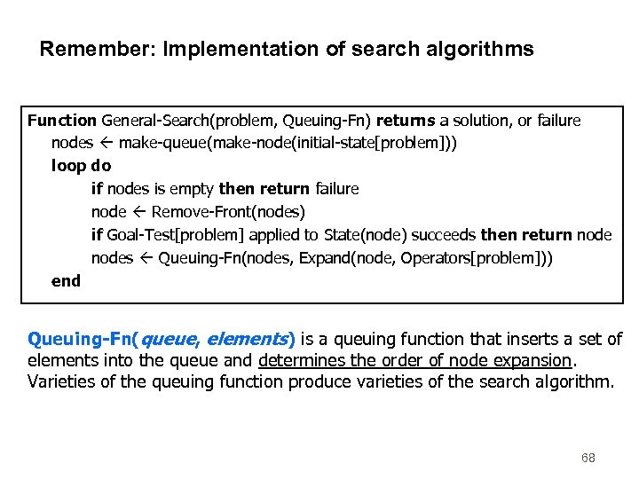 Remember: Implementation of search algorithms Function General-Search(problem, Queuing-Fn) returns a solution, or failure nodes