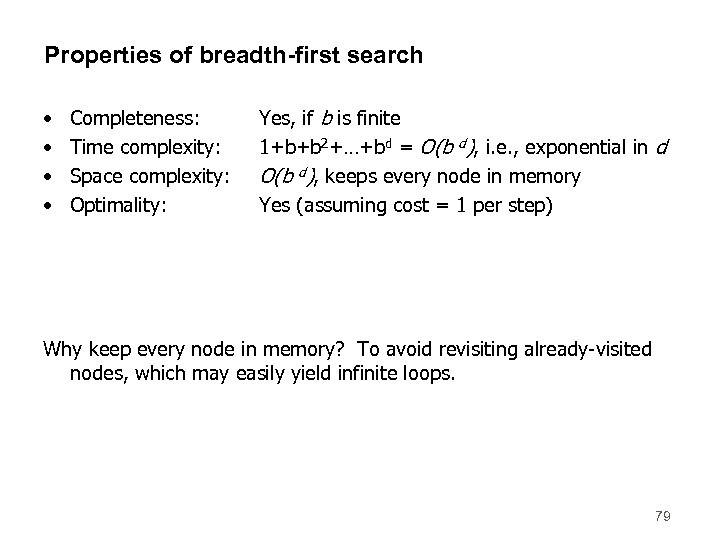 Properties of breadth-first search • • Completeness: Time complexity: Space complexity: Optimality: Yes, if