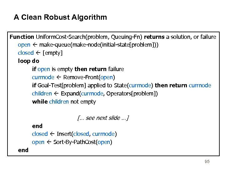 A Clean Robust Algorithm Function Uniform. Cost-Search(problem, Queuing-Fn) returns a solution, or failure open