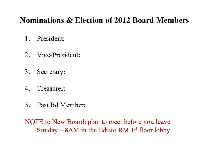 Nominations & Election of 2012 Board Members 1. President: 2. Vice-President: 3. Secretary: 4.