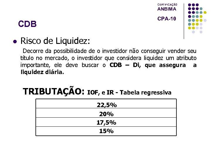 CERTIFICAÇÃO ANBIMA CPA-10 CDB l Risco de Liquidez: Decorre da possibilidade de o investidor