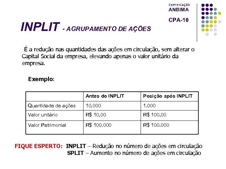 CERTIFICAÇÃO ANBIMA INPLIT - AGRUPAMENTO DE AÇÕES CPA-10 É a redução nas quantidades das